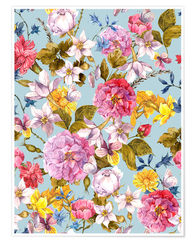 Premium poster Flowers on light blue background
