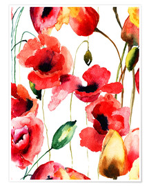 Poster Poppy and Tulips flowers