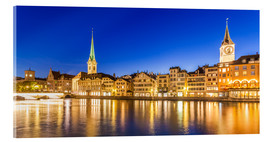 Acrylic print  Zurich at night - Dieterich Fotografie
