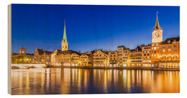 Wood print  Zurich at night - Dieterich Fotografie