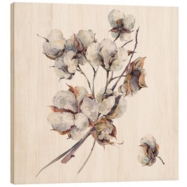 Wood print  Cotton flower twigs