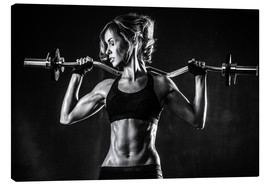 Canvas print  Sportswoman with a barbell