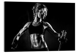 Acrylic glass  Sportswoman with barbell