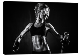 Canvas print  Sportswoman with barbell