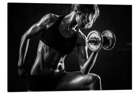 Alu-Dibond  Sportswoman with dumbbells