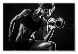 Premium poster Sportswoman with dumbbells