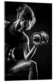 Acrylic glass  Sportswoman with dumbbell
