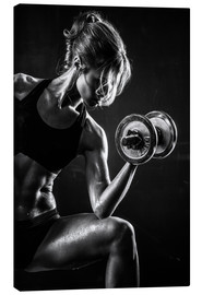 Canvas  Sportswoman with dumbbell