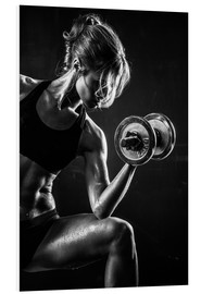 Foam board print  Sportswoman with dumbbell