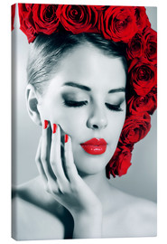 Canvas print  Rose lady with red lips