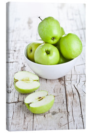 Canvas print  Green apples in a bowl