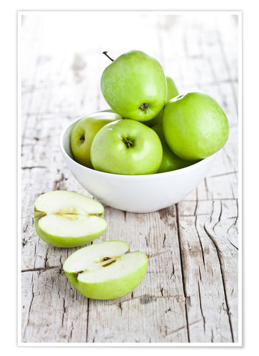 Premium poster Green apples in a bowl