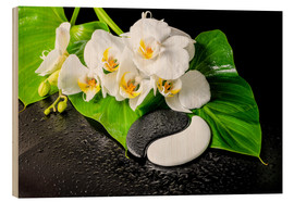 Wood print  White orchids and Yin-Yang stones
