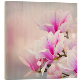 Wood print  Magnolia flowers on bokeh background
