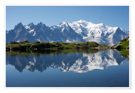 Poster  Lake with Mont Blanc massif