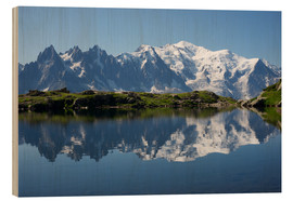 Wood print  Lake at Mont Blanc