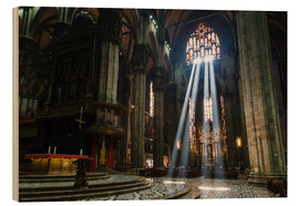 Wood print  Beams of Light inside Milan Cathedral