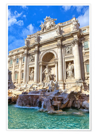Poster Trevi Fountain under blue sky