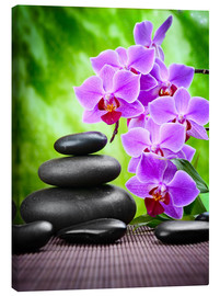 Canvas  Zen basalt stones and orchid