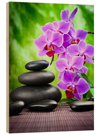 Wood print  Zen basalt stones and orchid