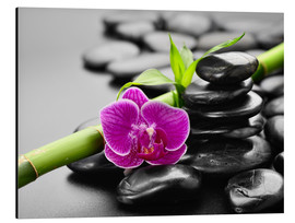 Basalt stones, bamboo and orchid