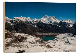 Wood print  Everest, Lhotse, Makalu, Nuptse
