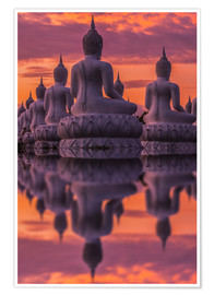Premium poster  Buddha statues at sunset
