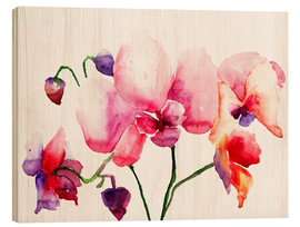 Wood print  Pink orchids