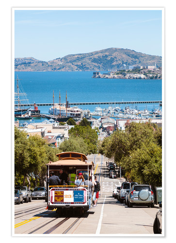 Premium poster Tram with Alcatraz island in the background, San Francisco, USA