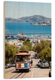Wood print  Tram with Alcatraz island in the background, San Francisco, USA - Matteo Colombo
