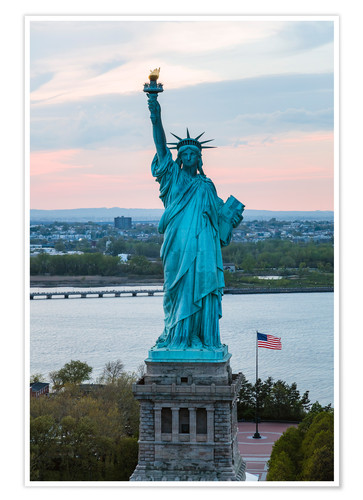 Aerial View Of The Statue Of Liberty At Sunset New York