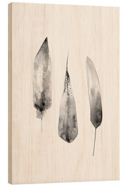 Wood print  Three Feathers - RNDMS