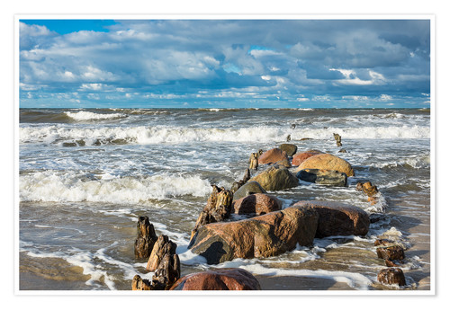 Premium poster Baltic Sea coast on a stormy day