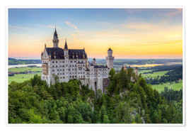 Premium poster  Neuschwanstein Castle at sunrise in summer - Michael Valjak