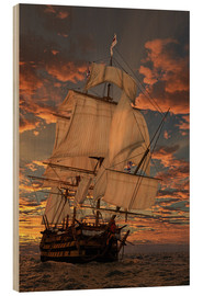 Wood print  The HMS victory - Peter Weishaupt