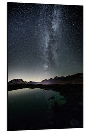 Aluminium print  Nightscape from Muottas Muragl with small pond  Engadin, Switzerland - Peter Wey