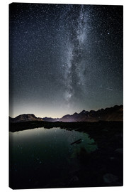 Canvas print  Nightscape from Muottas Muragl with small pond  Engadin, Switzerland - Peter Wey