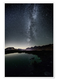 Premium poster Nightscape from Muottas Muragl with small pond  Engadin, Switzerland