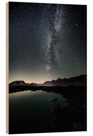 Wood print  Nightscape from Muottas Muragl with small pond  Engadin, Switzerland - Peter Wey
