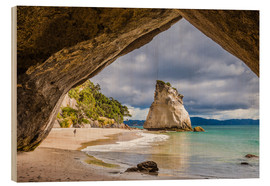 Wood print  Cathedral Cove - Thomas Klinder
