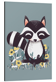 Aluminium print  Animal friends - The raccoon - Kanzilue