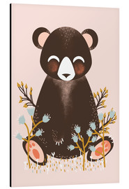 Aluminium print  Animal friends - The bear pink - Kanzi Lue