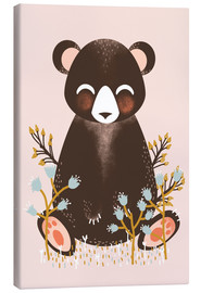 Canvas print  Animal friends - The bear pink - Kanzilue