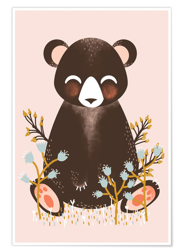 Poster Animal friends - The bear pink
