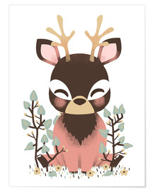 Poster  Animal friends - The deer - Kanzi Lue