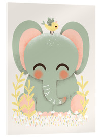 Acrylic print  Animal friends - The elephant - Kanzi Lue