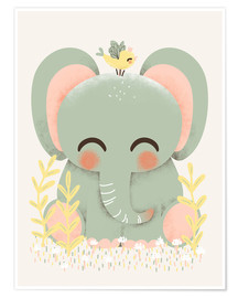 Poster  Animal friends - The elephant - Kanzi Lue