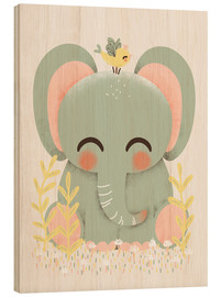 Wood print  Animal friends - The elephant - Kanzilue