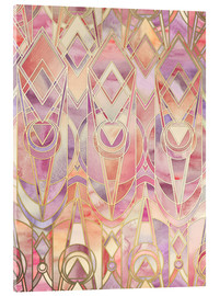 Acrylic print  Glowing Coral and Amethyst Art Deco Pattern - Micklyn Le Feuvre