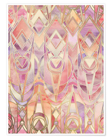 Poster Glowing Coral and Amethyst Art Deco Pattern